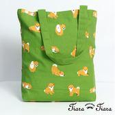 【Tiara Tiara】滿版童趣小柴犬-帆布袋(綠)
