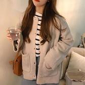 秋季新款女裝韓風加厚保暖扣子純色針織開衫長袖毛衣短外套潮