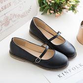 日系復古文藝平底一字扣淺口可愛圓頭學生單鞋女小皮鞋 QQ3266『MG大尺碼』