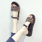 增高涼鞋 平底增高涼鞋女夏季新款仙女配裙子一鞋兩穿涼拖鞋子-Ballet朵朵