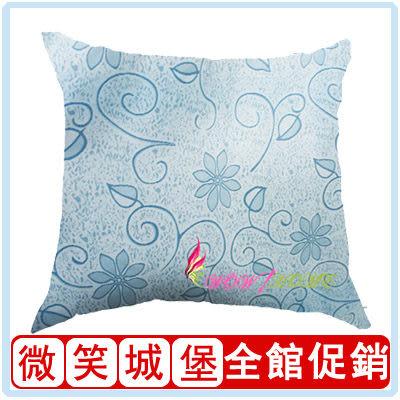 【抱枕-藍色幸運花】[含枕芯]45*45cm靠枕 枕頭[MIT精品]帶拉鏈可拆洗(下殺底價)[微笑城堡]