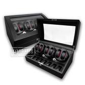 機械錶自動上鍊盒 3旋6入錶座轉動 高質感碳纖維 - 黑色
