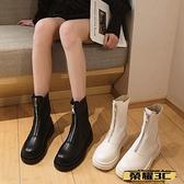 馬丁靴 馬丁靴女2021年新款春秋單靴英倫風白色中筒透氣短靴網紅夏季薄款 榮耀3C