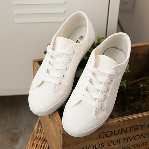 女款 全白日系森林休閒帆布鞋 小白鞋 59鞋廊