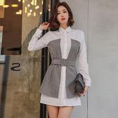 VK精品服飾 韓國風收腰撞色拼色襯衣配腰帶長袖洋裝