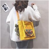 帆布包女 2021簡約大容量帆布包ins爆款購物包手提包女大包 夢藝家