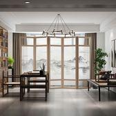 新中式屏風半透明紗畫山水移動隔斷折疊客廳玄關實木鏤空折屏中式