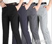 中年男褲夏季薄款中老年人男士亞麻休閒褲男寬鬆西褲直筒爸爸褲子-Ifashion