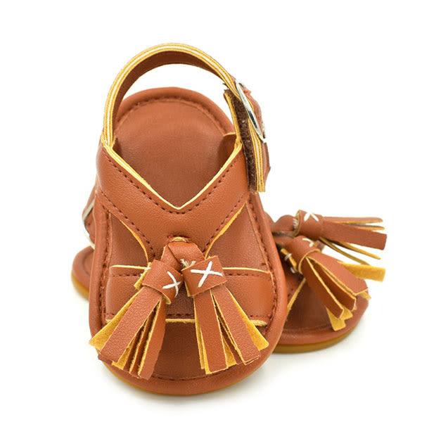 寶寶 涼鞋 流蘇 羅馬 民族風 學步鞋 羅馬鞋 防滑膠底 咖白 NXS