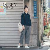 Queen Shop【04101256】小格紋打折設計老爺褲*預購*