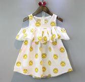 女童洋裝 女童洋裝夏季新款中小童裝滿印笑臉荷葉邊A字背心裙子   花間公主