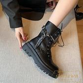 短靴女英倫風馬丁靴春秋單靴百搭潮系帶機車靴【繁星小鎮】