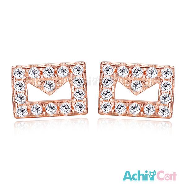 AchiCat銀耳釘925純銀耳環 耳針式 幸福訊息 韓版迷你 (玫金色款單副) GS5030
