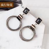 流行飾覺 s925純銀耳針韓版高檔圓環方水晶耳環時尚雙色電鍍耳飾『小淇嚴選』