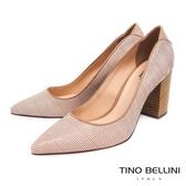 Tino Bellini 巴西進口蛇紋佐雙色條紋尖頭跟鞋 _ 奶茶色 B83228 歐洲進口款
