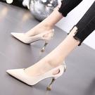高跟鞋 春季百搭裸色高跟鞋女尖頭細跟淺口性感少女漆皮單鞋-Ballet朵朵