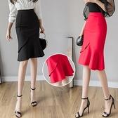 包臀裙OL半身裙S-3XL1079優雅大擺荷葉邊裙大碼半身裙包臀裙彈力包裙婚喜慶裝D734依佳衣