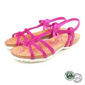 【Panama Jack】蛇紋扣帶平底女涼鞋 桃紅(PSW45-ROS)