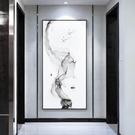 新中式入戶玄關裝飾畫現代簡約招財風水壁畫走廊豎版抽象輕奢掛畫