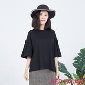 【RED HOUSE 蕾赫斯】蝴蝶結寬袖棉上衣(黑色)