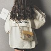 編織包夏季包包女包潮復古時尚錬條質感洋氣簡約側背編織包-特賣