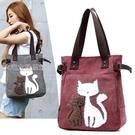 單肩包新款帆布包女包學生韓版原宿風大容量單肩包小貓購物袋手提包 快速出貨