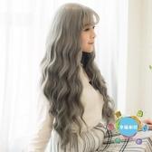 中長假髮日系奶奶灰色水波紋長捲髮女生假髮空氣瀏海波浪假髮 原宿假髮