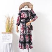 春季新品韓版韓版女裝一字領女式復古印花中長版連身裙 【萬聖節八五折鉅惠】