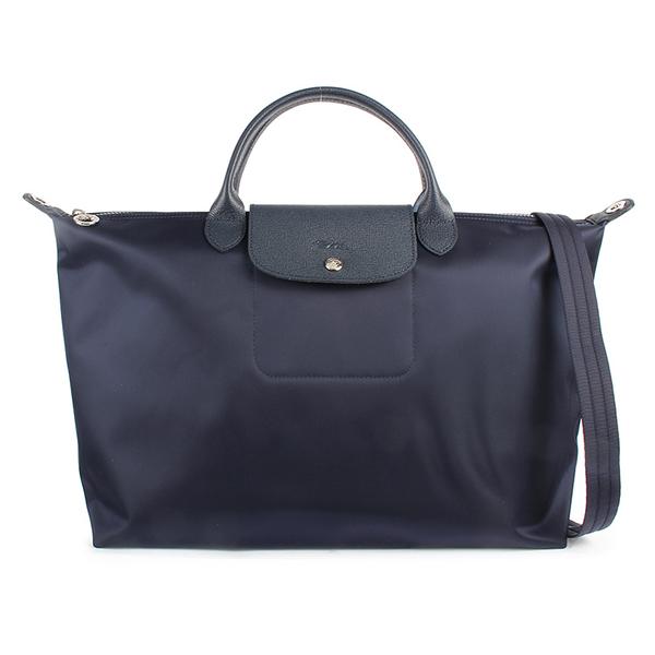 LONGCHAMP 1630 厚尼龍兩用水餃包L(深藍色)480167-006