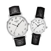 [結帳再折]TISSOT 天梭 EVERYTIME 數字錶盤皮帶石英對錶/男T1094101603200/女T1092101603200
