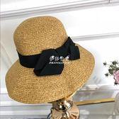 日繫可折疊蝴蝶結防曬沙灘草帽遮陽翻邊漁夫帽凹造型盆帽  伊莎公主