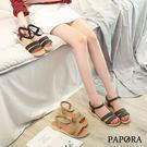 PAPORA雙版好走涼鞋K128-68黑/綠/杏