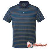 【wildland 荒野】男 涼感抗UV條紋YOKE上衣『深藍』0A61602 T恤 POLO衫 條紋 上衣 短袖 排汗 登山