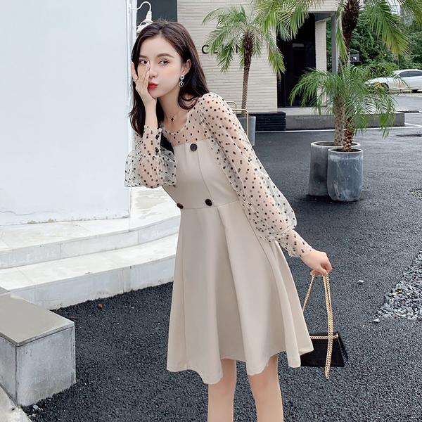 絕版出清 韓國風泡泡袖波點拼接假兩件蓬蓬長袖洋裝