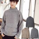 半高領混色毛衣 韓版坑條針織衫 3色 M-2XL碼【CM65255】
