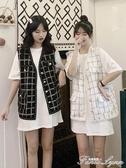 小香風馬甲女夏天外穿新款韓版寬鬆百搭格子上衣無袖背心外套 范思蓮恩