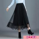 網紗半身裙黑色兩面穿春夏中長款高腰顯瘦蕾絲a字垂感百褶長紗裙 源治良品
