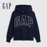 Gap女裝 Logo撞色馬卡龍色連帽休閒上衣 620490-海軍藍