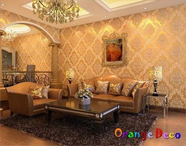 壁貼【橘果設計】鑲鑽大馬士革系列壁紙(金黃)10米長DIY組合壁貼 牆貼 壁貼 室內設計 裝潢