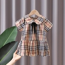 女童洋裝 女童連身裙夏薄款蝴蝶結格子夏季洋氣韓版新款短袖女寶寶裙子夏裝