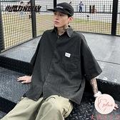 牛仔短袖襯衫男夏季薄款韓版潮流寬松襯衣外套【大碼百分百】