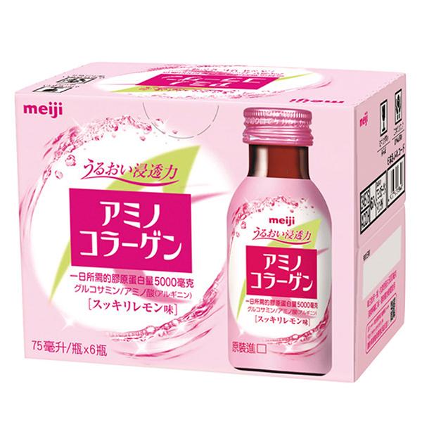 Meiji 明治 膠原蛋白飲(檸檬口味)75ml x 6瓶入【小三美日】Amino Collagen