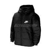Nike 外套 Sherpa Fleece Swoosh Jacket 黑 白 女款 連帽 保暖 羽絨外套 運動休閒 【ACS】 CZ1467-010