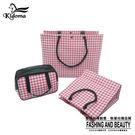 手提袋千鳥紋系列三件組-桃紅白千鳥 手提袋 編織袋 環保袋 購物袋 防水