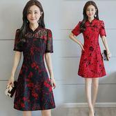 旗袍 短袖蕾絲盤扣改良旗袍修身顯瘦復古中國風印花A字洋裝女裝 IV1940【極致男人】