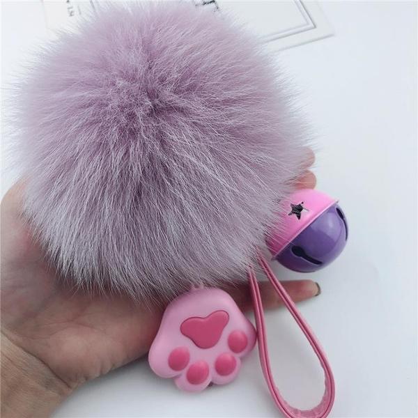 大狐貍毛鑰匙扣 創意LED燈貓爪包掛件女可愛汽車鑰匙鏈