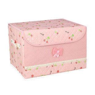 有蓋收納箱 壓花櫻桃無紡布整理盒
