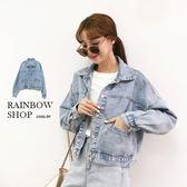 水洗斜口袋短版牛仔外套-M-Rainbow【A088682】