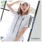 Catworld CHARMING GIRL。拼接網紗連帽運動T【11406425】‧S/M/L/XL