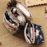 卡通可愛迷你小號化妝品包隨身便攜雙層拉鍊布藝放包里的收納袋子